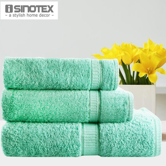 Green Color Towel Set 3pcs/lot Face Hair Bath Towel Set 100% Cotton Plain Dyed Solid Soft - Beltran's Enterprise