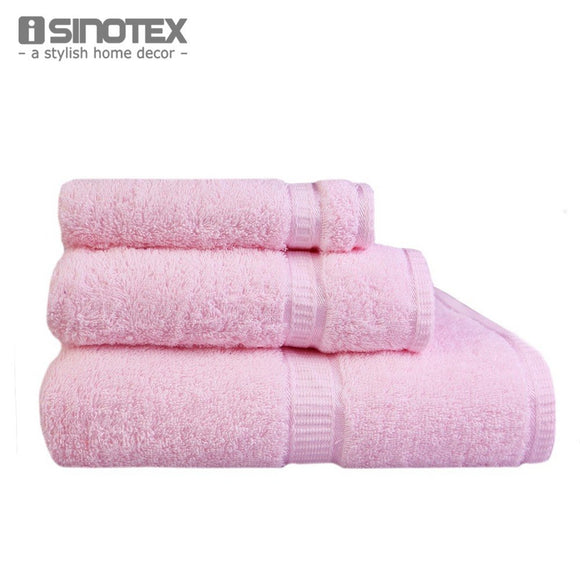 3 PCS/Lot Towel Sets 100% Cotton Face Bath Bathroom Satin Terry Brand - Beltran's Enterprise