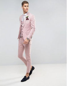 Tailor Made Pink Men wedding Suits Slim Fit Groom Prom Party Blazer Male Tuxedo Jacket+Pants+Vest - Beltran's Enterprise