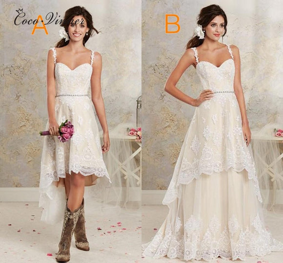Detachable Skirt Two in one Embroidery Vintage Wedding Dress 2019 A line Sweep Train Straps - Beltran's Enterprise