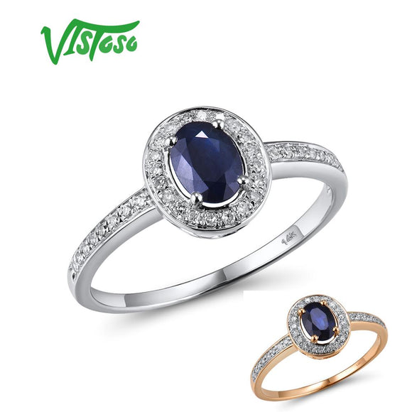VISTOSO 14K White Gold Rings For Women Genuine Sparkling Diamond Fancy Blue Sapphire - Beltran's Enterprise