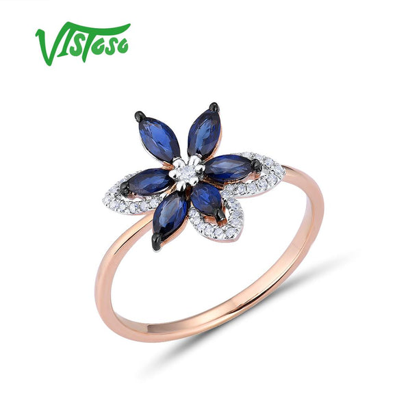 VISTOSO Pure 14K 585 Rose Gold Ring For Women Ring shining Diamond Blue Sapphire Luxury - Beltran's Enterprise