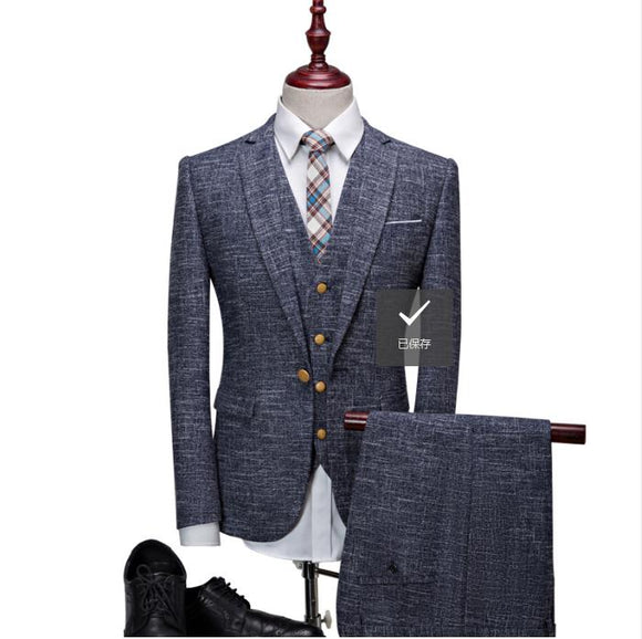 (Jacket+Vest+Pants)2019 Men's Suits British Style High Quality Single Button - Beltran's Enterprise