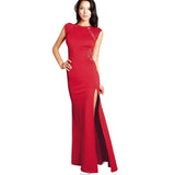 Summer Sexy Women O-Neck Split Visible Back Patchwork Maxi Dress Vintage Slit Short Sleeve - Beltran's Enterprise