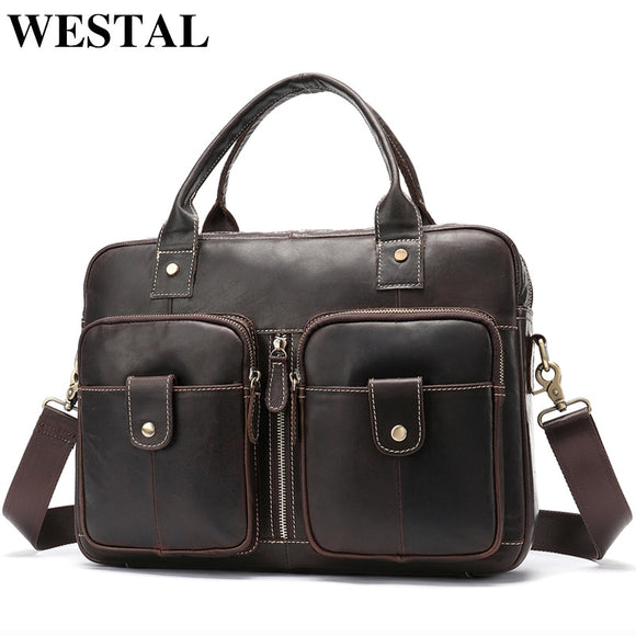 WESTAL Men's Bag Genuine Leather Men Briefcases  for Laptop Bag - Beltran's Enterprise