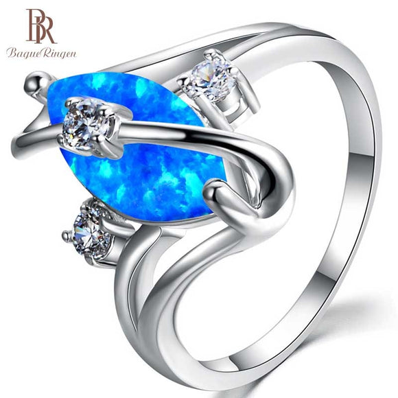 Bague Oval Blue 925 Sterling Silver Ring Opal Ring - Beltran's Enterprise