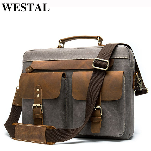 WESTAL Men Briefcases Men's Bag Genuine Leather Business Office Bags - Beltran's Enterprise