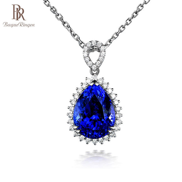 Bague Ringen Luxury Water Drop Shaped Gemstone Pendant Sapphire Necklace for Women - Beltran's Enterprise