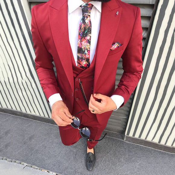 Red Wool Blend Suit Men Blazer Wedding Men Suit Slim Fit Prom Formal Jacket Tuxedo Costume - Beltran's Enterprise