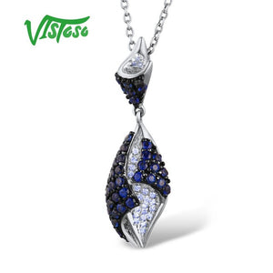 VISTOSO Gold Pendant For Women Genuine 14K 585 Rose White Gold Sparkling Diamond Blue Sapphire - Beltran's Enterprise