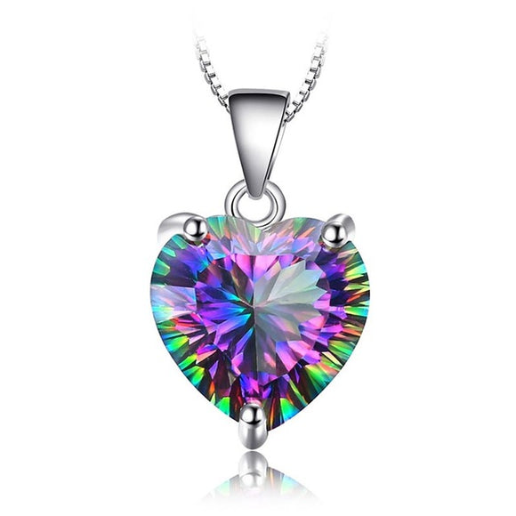 Bague Ringen silver jewelry Necklaces For Women Black colored Topaz Heart Pendant - Beltran's Enterprise