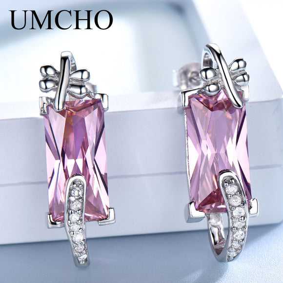 UMCHO Pure 925 Sterling Silver Drop Earrings Female Pink CZ Dangle Earrings For Women Jewelry Christmas Romantic Wedding Gift - Beltran's Enterprise