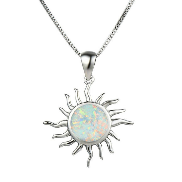 Bague Ringen Round Opal Sun Pendant Necklace for Women Silver 925 Jewelry Gemstones White Blue - Beltran's Enterprise