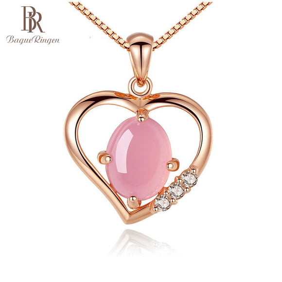 Begua Ringen Fashion 18k Golden Necklace Classic Heart Necklaces Pendants With Pink Stone - Beltran's Enterprise