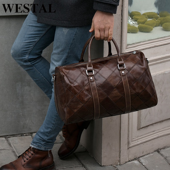 WESTAL Men's Travel Bags Hand Luggage Genuine Leather Duffle Bags - Beltran's Enterprise