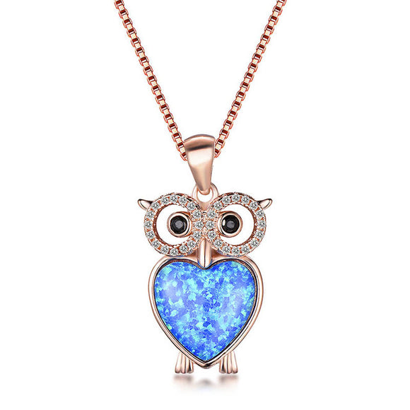 Bague Ringen Lovely Cute Owl Pendant Necklace for Women White Blue Opal Animal Silver - Beltran's Enterprise