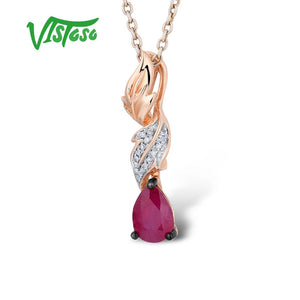 VISTOSO Gold Pendants For Women Authentic 14K 585 Rose Gold Natural Ruby Sparkling - Beltran's Enterprise