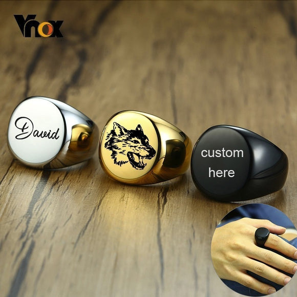 Vnox 20mm Chunky Personalize Round Top Signet Ring for Men - Beltran's Enterprise