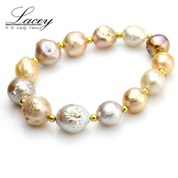 Real natural baroque pearl bracelets Multi cultured freshwater pearl bracelet 925 silver jewelry - Beltran's Enterprise