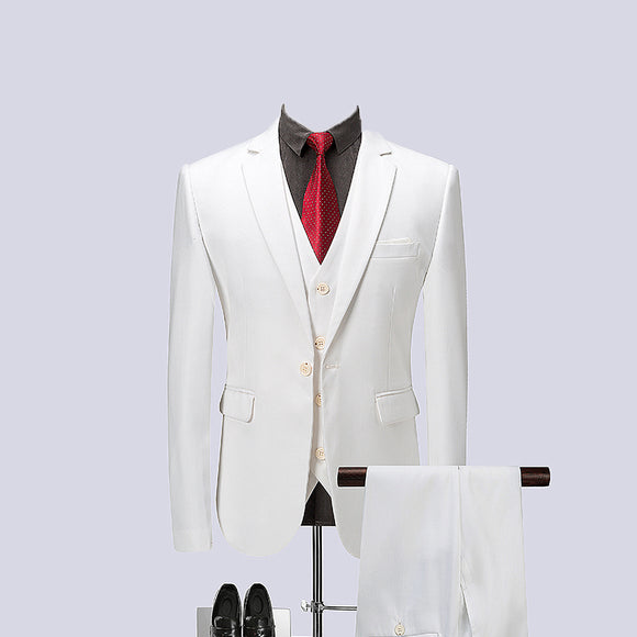 2019 White Spring Mens Business Formal Suit Men Single Breasted Suits Slim Fit Mens Quality - Beltran's Enterprise