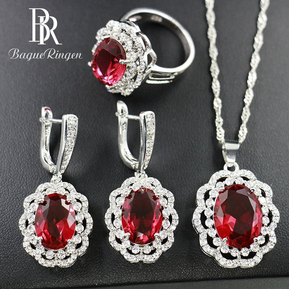 Bague Ringen Flower Silver 925 Jewelry Sets for Women Oval - Beltran's Enterprise