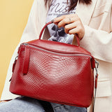 Zency Crocodile Pattern Women Tote Handbag Made Of Genuine Leather Daily Casual Crossbody - Beltran's Enterprise