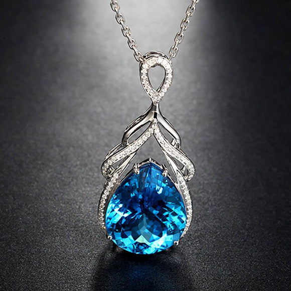 Bague Ringen Luxury Mermaid's Tears Sapphire Necklace for Women Silver 925 Jewelry - Beltran's Enterprise