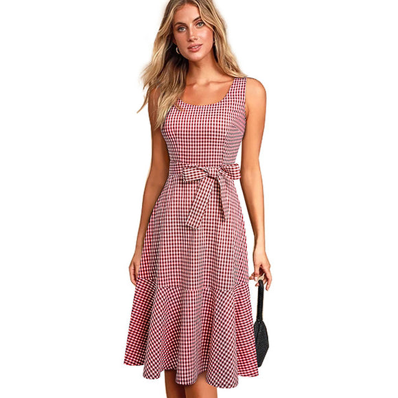Nice-forever New Spring Casual Plaid Sleeveless vestidos with Sash A-Line - Beltran's Enterprise