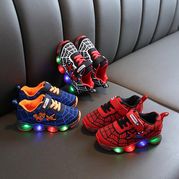 Spider man Kids Shoes With Lights Autumn Winter Toddler Boys Glowing Sneakers - Beltran's Enterprise