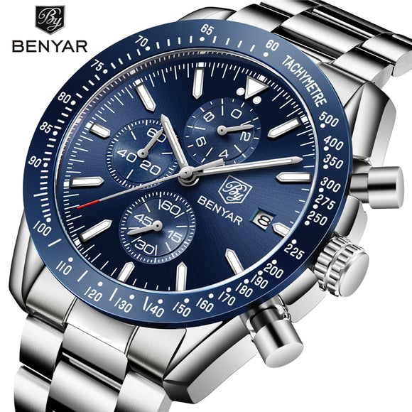 Men Watch BENYAR Top Brand Luxury Full Steel Business