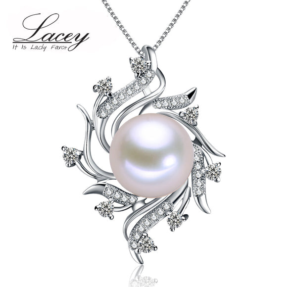 Fashion freshwater pearl pendant jewelry women 925 silver,white real natural pearl pendant - Beltran's Enterprise