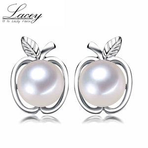 100% 925 sterling silver stud earring pearls for women freshwater - Beltran's Enterprise