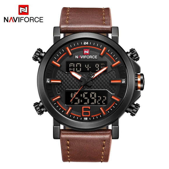 NAVIFORCE 9135 Mens Watches Top Brand Luxury Quartz Watch Men Casual Leather - Beltran's Enterprise