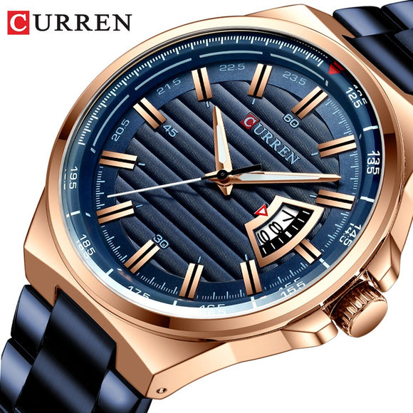 CURREN 8375 Mens Watches Top Luxury Brand Men Full Steel Watches Quartz Watch - Beltran's Enterprise