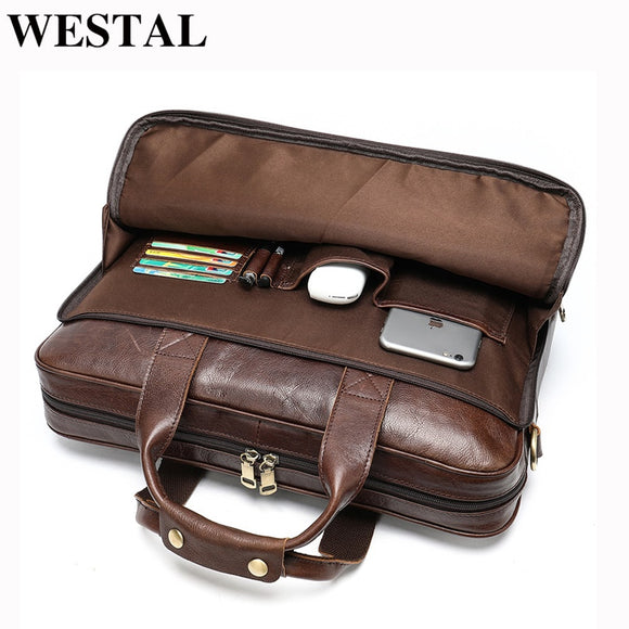 WESTAL Men briefcase totes men's bag genuine leather 15'' laptop bag - Beltran's Enterprise