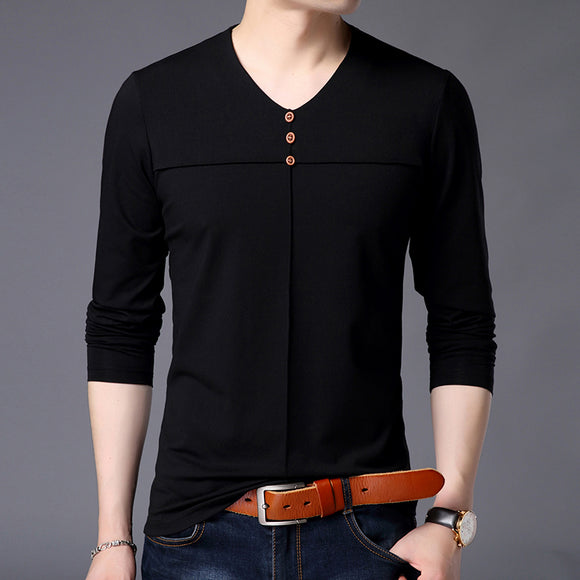 2019 New Fashion Brand Tshirt For Men V Neck Mercerized Cotton - Beltran's Enterprise