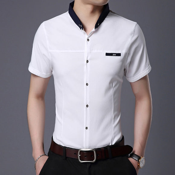 2020 Fashion Brand Designer Shirt Mens Solid Color Workout Summer Slim Fit - Beltran's Enterprise
