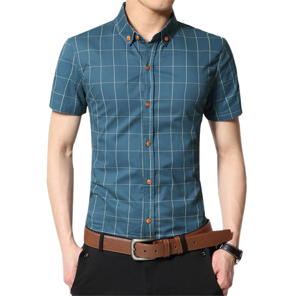 Fashion Brand Clothing Mens Short Sleeve Shirt 2020 Summer New Plaid Slim Fit Shirt - Beltran's Enterprise
