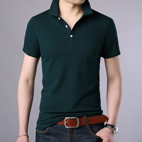 2020 New Fashion Men Polo Shirt Solid Color Slim Fit Polo Men Short Sleeve - Beltran's Enterprise