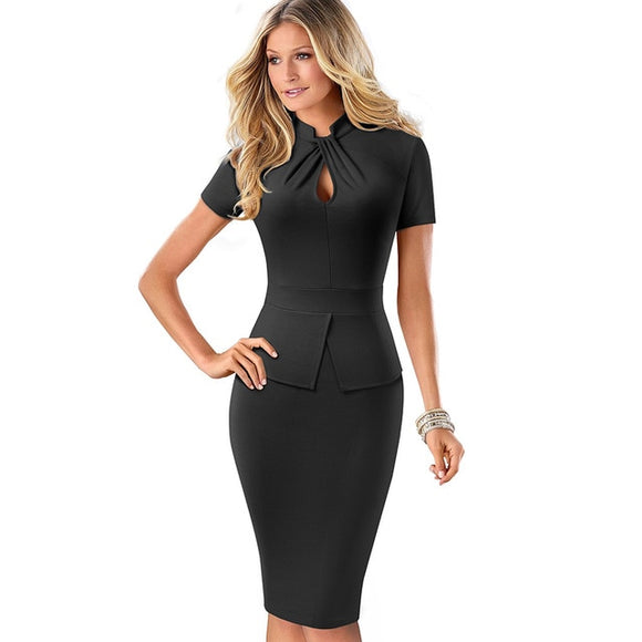 Nice-forever Elegant Solid Color Peplum with Knot Work vestidos Business Party - Beltran's Enterprise