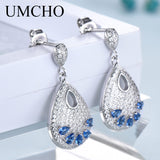 UMCHO Water Drop Created Sapphire Earrings Real 925 Sterling Silver Gemstone Drop Earrings - Beltran's Enterprise