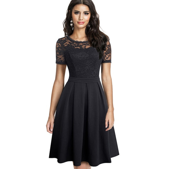 Nice-forever Elegant Lace Patchwork with Back V vestidos Party Retro Women Flare Swing Dress - Beltran's Enterprise
