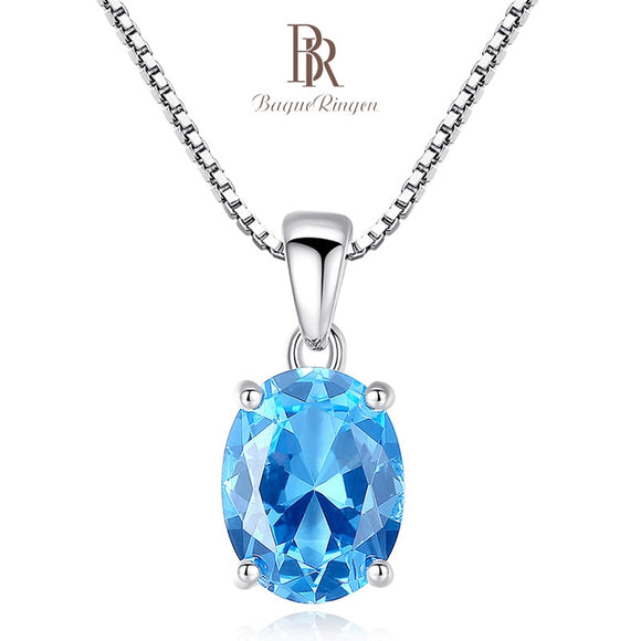 Bague Ringen Sterling Silver 925 Jewelry Blue Gemstones Necklace - Beltran's Enterprise