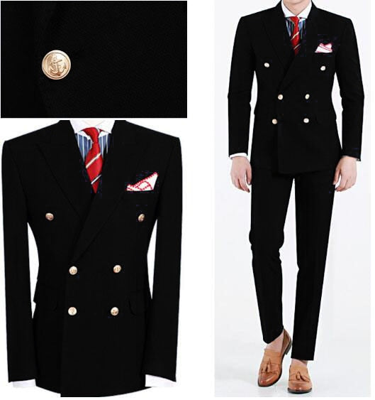 2019 Men Suit Slim Fit Mens Wedding Suits Black Peaked Lapel Double Breasted Men Suits 2 Piece Coat - Beltran's Enterprise