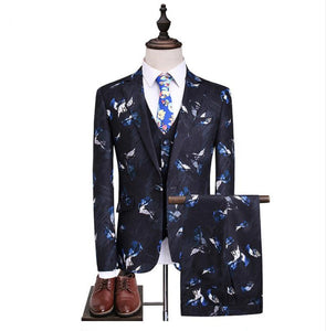 (Jacket+Vest +Pants)2019 Flower Color Arrival Men Slim Fit - Beltran's Enterprise