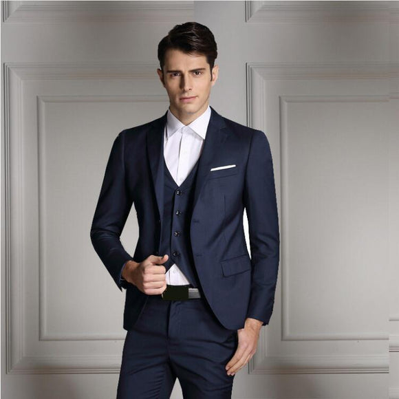 rand Men Fashion Three Piece Set Business Casual Slim Fit Suits Black Gray Royal Blue Navy Groom - Beltran's Enterprise