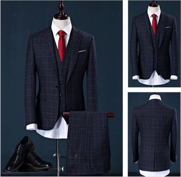 (Jacket+Vest+Pants)2019 New Style Men's Business Slim Fit Suits Men - Beltran's Enterprise