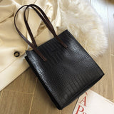 New Crocodile Pattern PU Leather High Capacity Tote Bag Casual Wild Single Shoulder Bag - Beltran's Enterprise