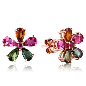 Bague Ringen silver 925 jewelry stud earrings with Colorful topaz - Beltran's Enterprise