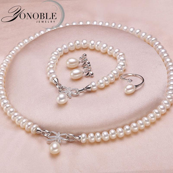 Wedding jewelry set white bridal jewelry sets for women,925 sterling silver natural pearl jewelry - Beltran's Enterprise